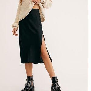 Free people sweet talker slip midi skirt